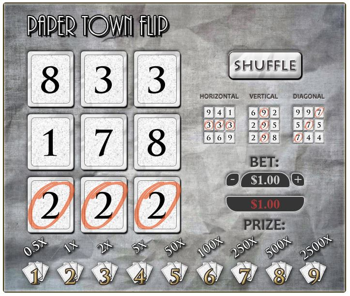 Paper town Flip Game - gambling with Bitcoins