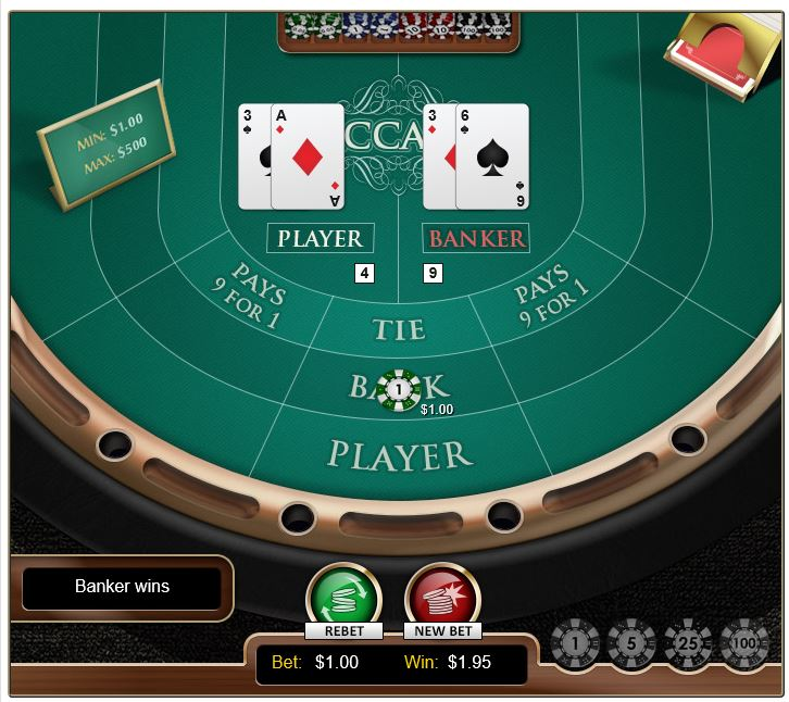Baccarat in-game image on PlayBitcoinGames.com
