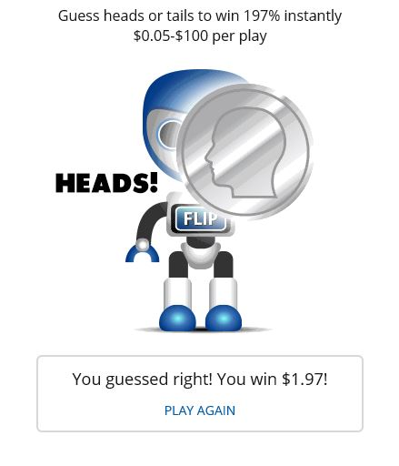 Coin Flip Game in-game image on PlayBitcoinGames.com