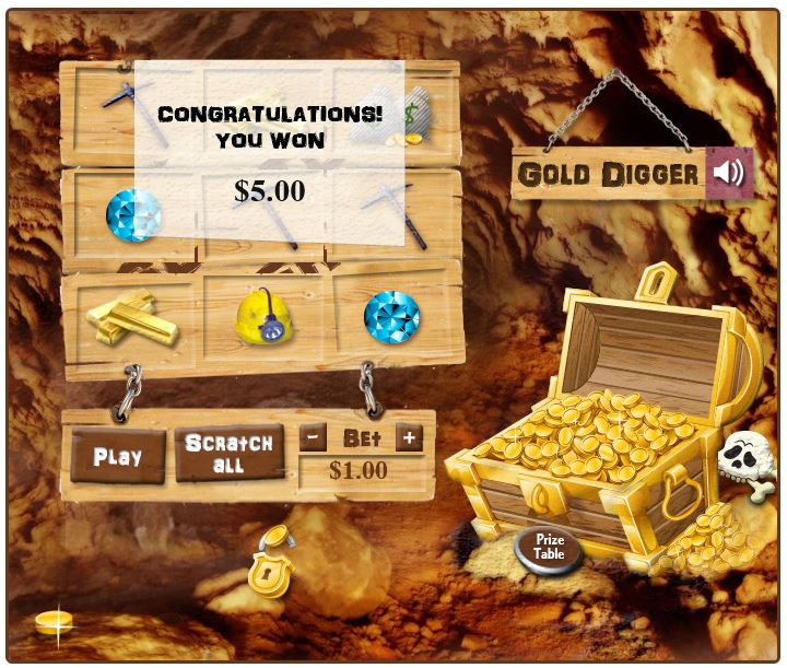 Gold Digger in-game image on PlayBitcoinGames.com
