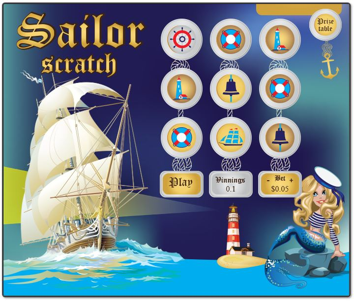 Sailor Scratch in-game image on PlayBitcoinGames.com